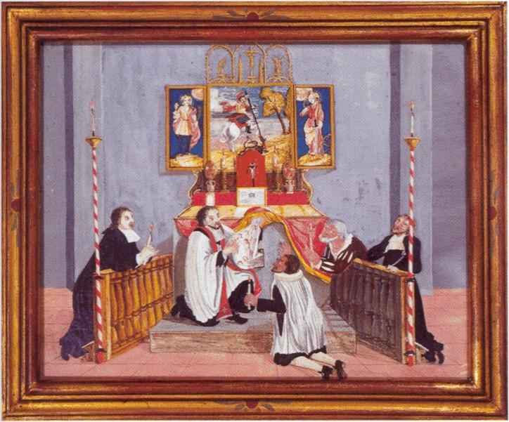 Walldürner Blutwunder - Malerei auf dem Hauptaltar. Quelle: www.wallfahrt-wallduern.de